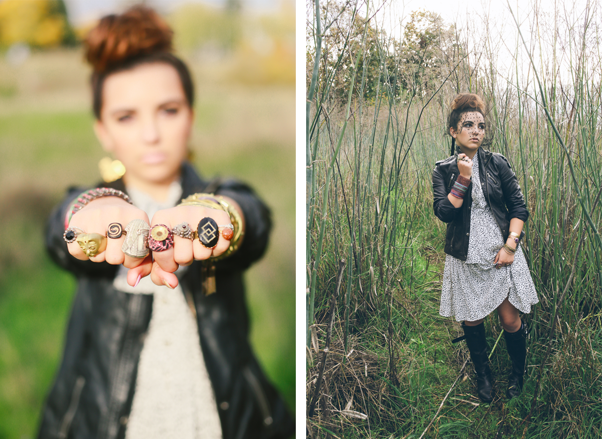 Left: The Bereaved Urchin's brass knuckles. Rings from left: Jesseca Anne, Ark Redesign, Jesseca Anne, Ark Redesign, Alicia Justus, vintage poison ring, Jesseca Anne, Nicole Weldon. Bracelets: Bangle tassel set and Scales by Jesseca Anne, Brass cuff by Mishakaudi, Amethyst cuff by Nicole Weldon, technicolor Indian bangles and rhinestone cuff vintage from Flutter. Earrings: fans by Jesseca Anne. Right: Bracelets: Bangle tassel set and Scales by Jesseca Anne, Brass cuff by Mishakaudi, Amethyst cuff by Nicole Weldon, technicolor Indian bangles and rhinestone cuff vintage from Flutter. Rings: Jesseca Anne, Alicia Justus.